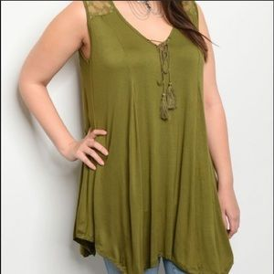 LAST Olive green long and flowy plus top blouse 2x
